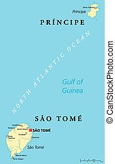 Sao Tome and Principe Political Map with capital Sao Tome. African island nation in the gulf of Guinea with two archipelagos. English labeling and scaling. Illustration.
