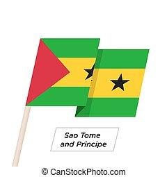 Sao Tome and Principe Ribbon Waving Flag Isolated on White....