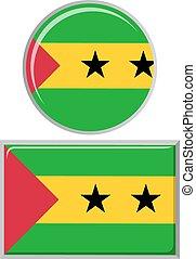 Sao Tome and Principe round, square icon flag.