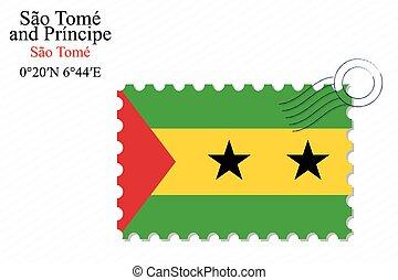 sao tome and principe stamp design over stripy background,...