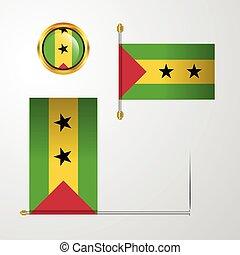 Sao Tome and Principe waving Flag design with badge vector