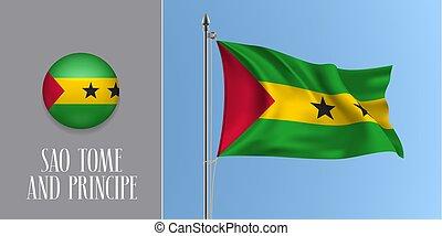 Sao tome and Principe waving flag on flagpole vector...