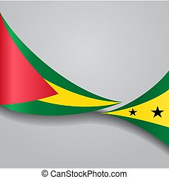 Sao Tome and Principe wavy flag. Vector illustration.