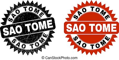 Black rosette SAO TOME watermark. Flat vector textured watermark with SAO TOME message inside sharp rosette, and original clean version. Watermark with corroded texture.