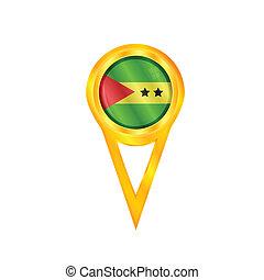 Sao Tome & Principe pin flag - Gold pin with the national...