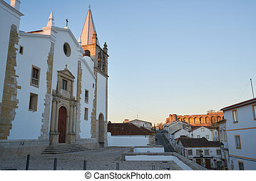 Sao Vicente church in Abrantes at sunset, Portugal