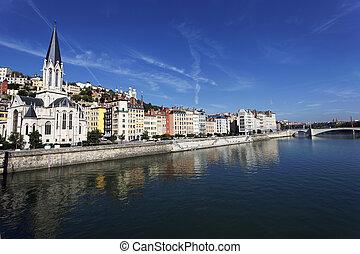 Saone river in Lyon city - Panoramic view of Lyon and Saone ...