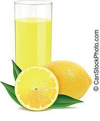 sap, bladeren, citroenen, fris