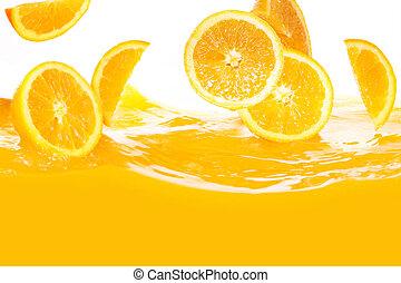 sap, het vallen, sinaasappel, fris