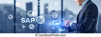 SAP Intelligent Robotic Process Automation. System Software Automation concept on futuristic virtual screen