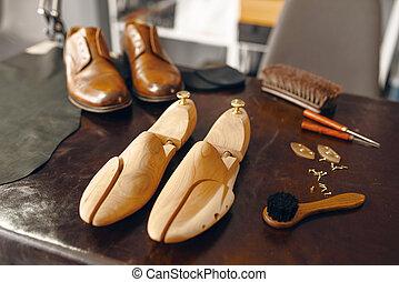 sapateiro, ferramentas, reparar, ninguém, serviço, calçado
