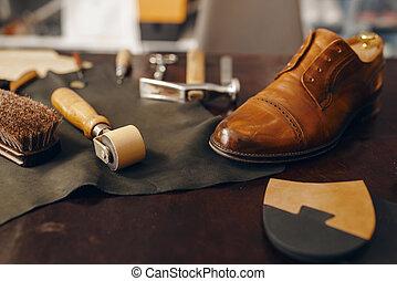 sapateiro, local trabalho, reparar, serviço, calçado