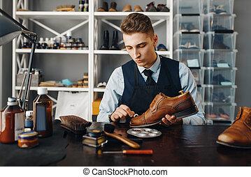 sapateiro, polishes, sapato, reparar, calçado