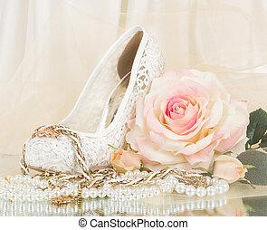 sapato, nupcial, casório, rosa
