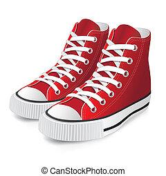 sapato, vermelho, esportes
