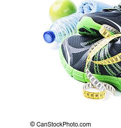 sapatos atletismo, e, garrafa água