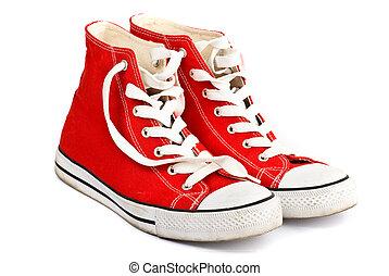 sapatos brancos, fundo, vermelho