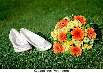 sapatos, buquet, Noiva, nupcial, capim, branca, mentindo