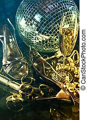 sapatos, chão, vidro, partido, champanhe, prata