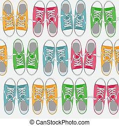 sapatos, cor, padrão, seamless, ilustração, vetorial, fundo