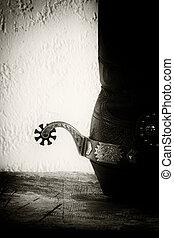 sapatos, e, spurs., retro, denominado, ocidental, vida