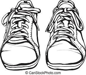 sapatos, executando, pretas, roto, tinta