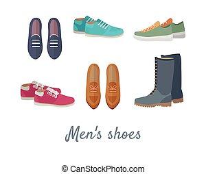 sapatos, homens,  s, vetorial, calçado, elegante, homem