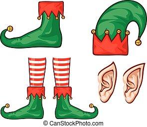 sapatos, (legs), duende, chapéu, natal, orelhas