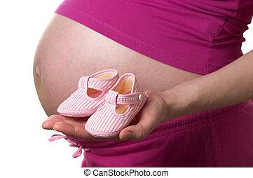 sapatos, para, um, bebê