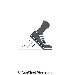 sapatos, perna, isolado, executando, fundo, branca