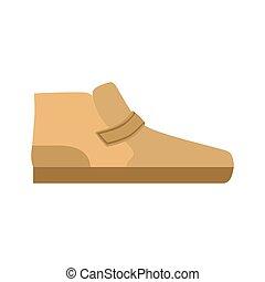 sapatos planos, marrom, único, isolado, item, calçado, ícone, sapato, sortimento, loja