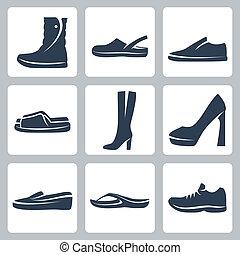sapatos, vetorial, jogo, isolado, ícones