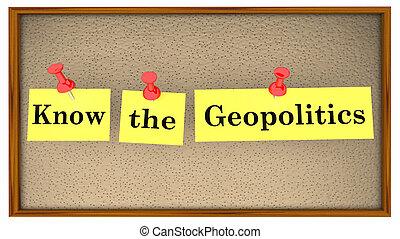 sapere, geopolitics, illustrazione, asse, parole, bollettino, 3d
