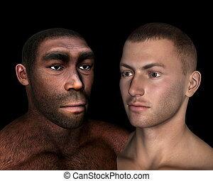 sapiens, comparaison, render, erectus, -, homo, 3d
