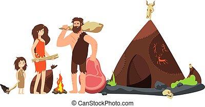 sapiens, préhistorique, family., homme cavernes, vecteur,...