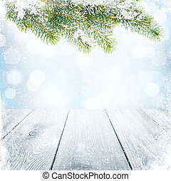 sapin, arbre hiver, neige, fond, noël