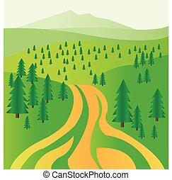 sapin, arbres., vert, route, numérique