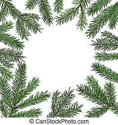 sapin, branch., arbre, symbole., texte, réaliste, arrière-plan vert, année, endroit, noël, nouveau, congratulation.