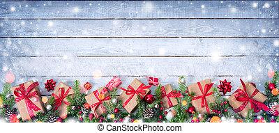 sapin, branches, cadeau, neigeux, -, boîtes, table, décoré, noël carte