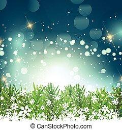 sapin, branches, flocons neige, arbre, fond, noël