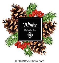 sapin, branches, hiver, viburnum, blancs, arbre, vector., carte