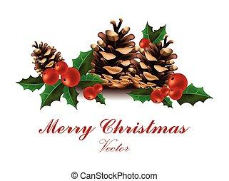 sapin, branches, joyeux, viburnum, blancs, arbre, vector., noël carte