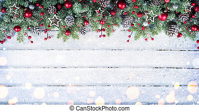 sapin, branches, neigeux, ornement, table, noël