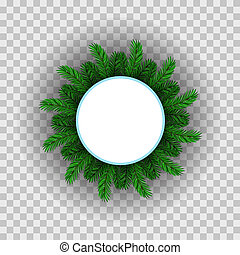 sapin, cercle, vert, cadre