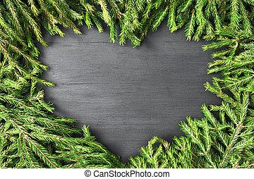 sapin, coeur, fait, naturel, formé, armature bois, sommet, plat, noël, arrière-plan., noir, branches, poser, vue