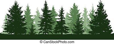 sapin, conifère, spruce., arbre., arbres, silhouette., vecteur, vert, illustration, fond, noël blanc, forêt