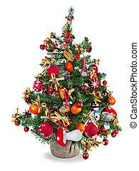 sapin, décoré, arbre, t, noël
