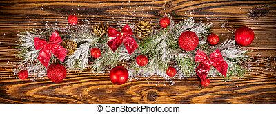 sapin, décoration, bois, branches, noël