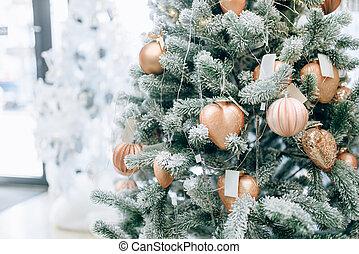 sapin, doré, arbre, jouets, décoré, noël