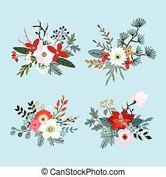 sapin, ensemble, bouquets, houx, hiver, magnolia, isolé, pin, mamans, fleurs, noël, eucalyptus, poinsettia, berries., floral, objects., branches, fait, feuilles, decoration., arbre, vecteur